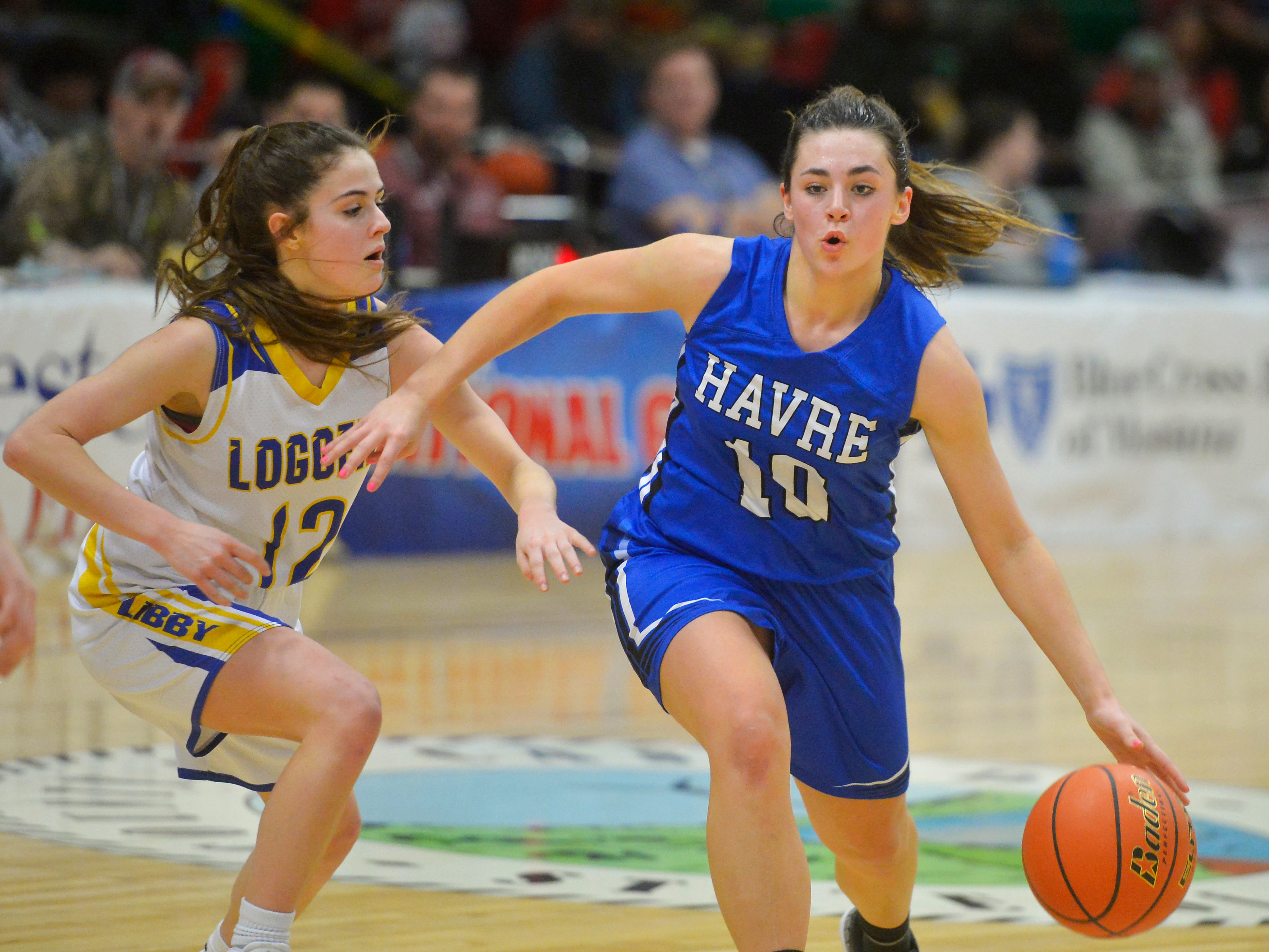 Havre's Kyndadll Keller drives to the basket during Thursday's game against Libby at the Class A State Basketball Tournament in the Four Seasons Arena.