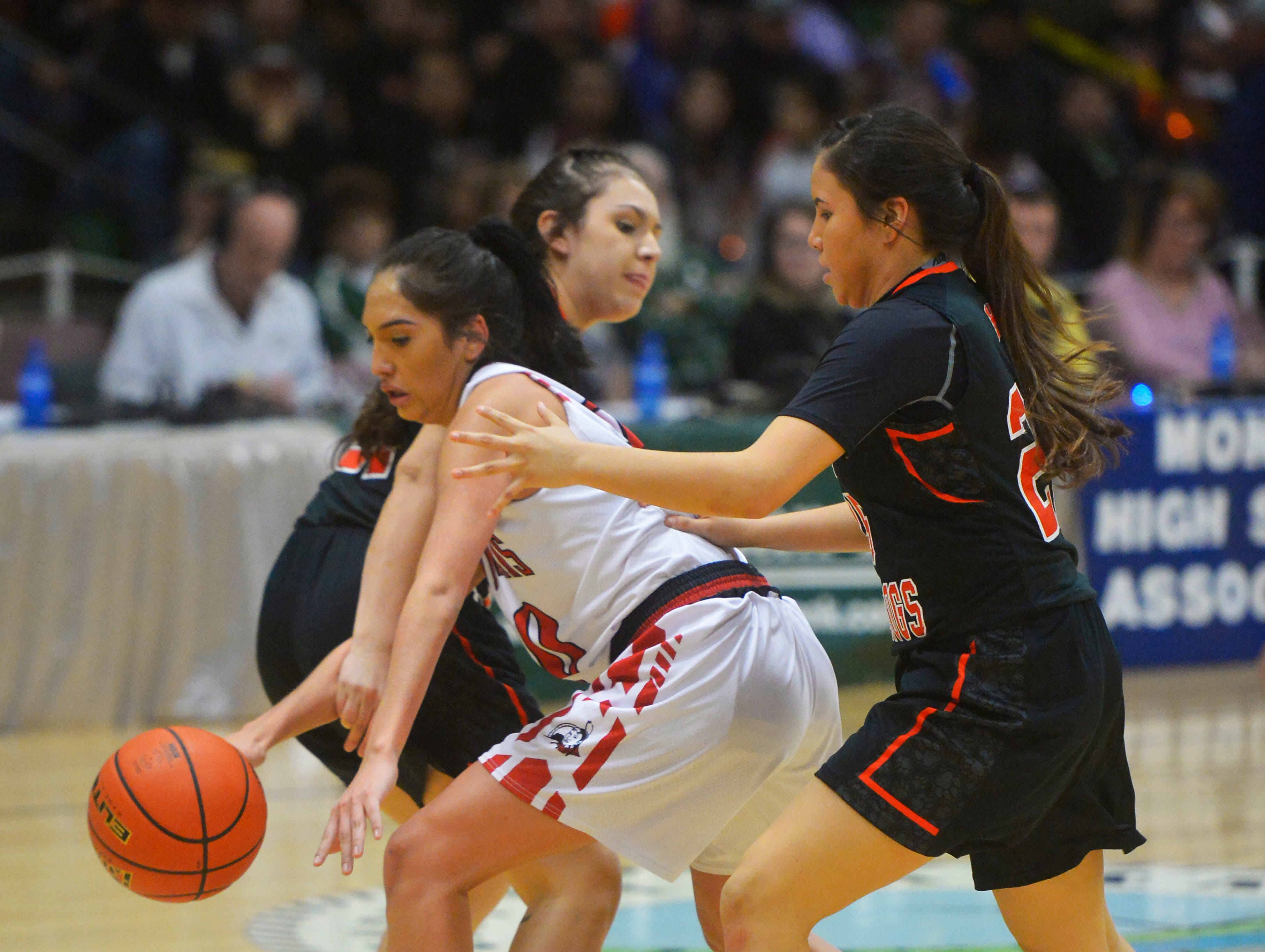 Browning and Hardin play in the first round of the Class A State Basketball Tournament in the Four Seasons Arena on Thursday.