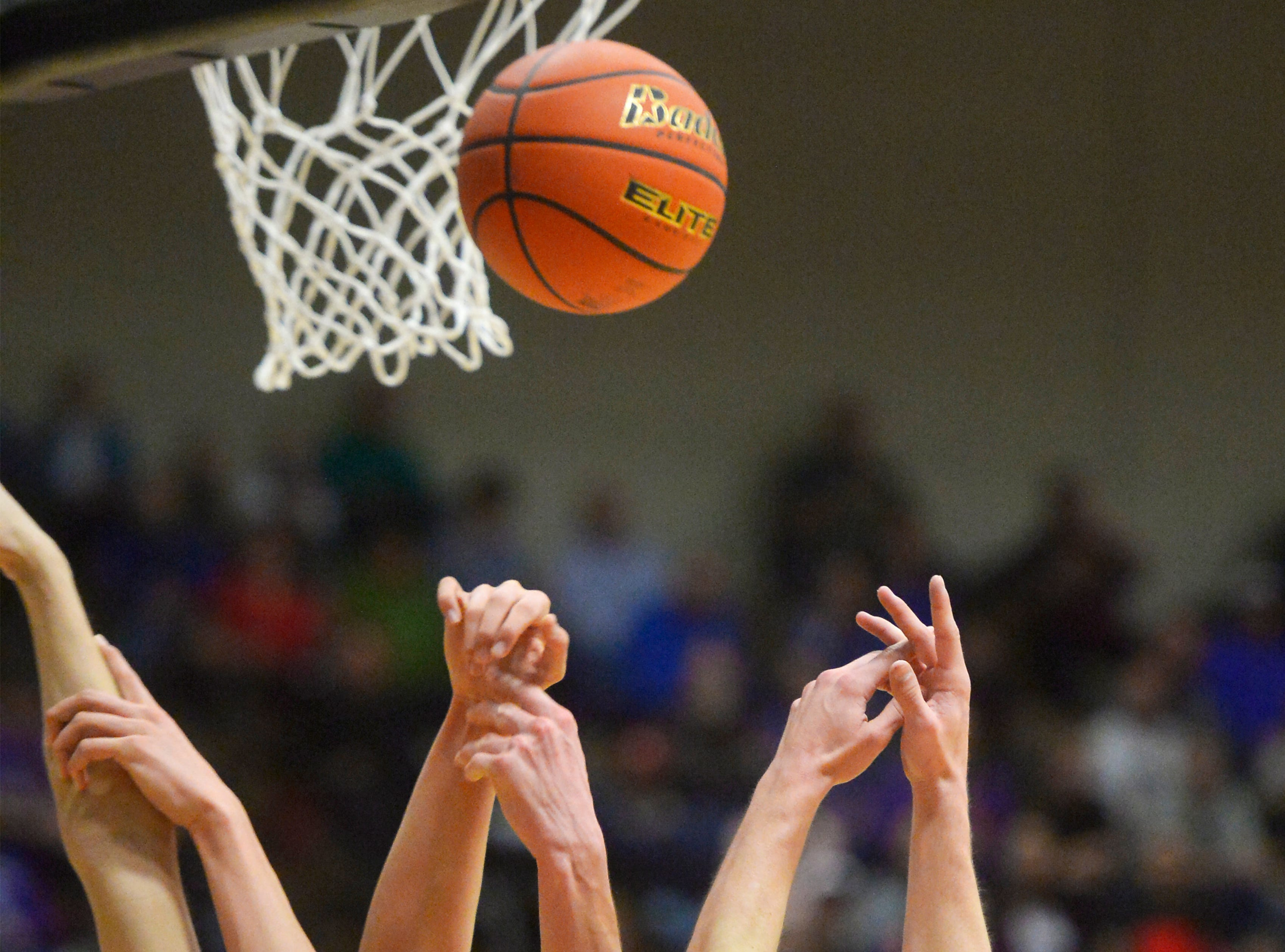 Browning and Laurel play in the consolation bracket of the boys State Class A Basketball Tournament in the Four Seasons Arena, Friday.
