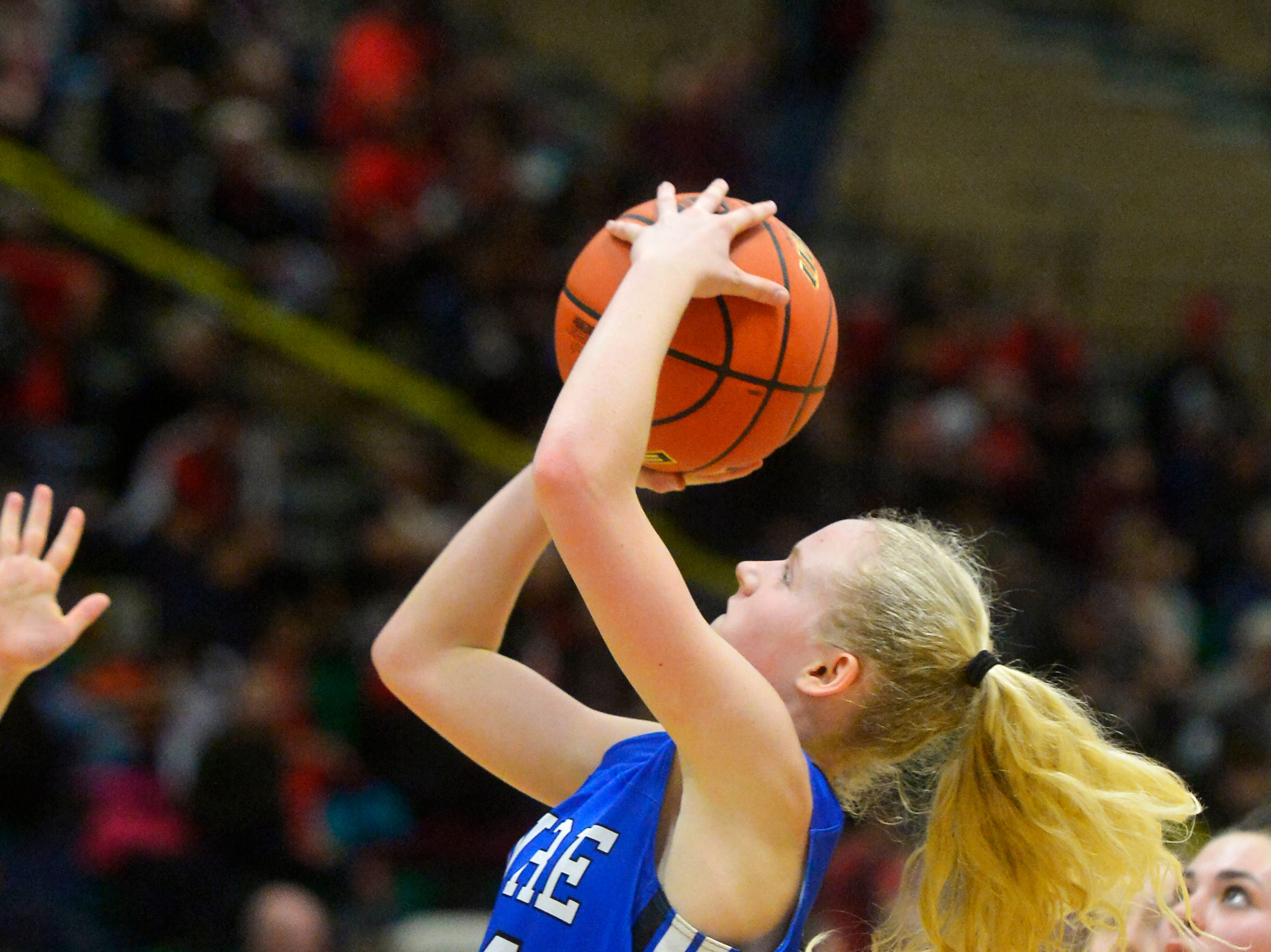 Havre's Sadie Filius scores in Thursday's game against Libby during the Class A State Basketball Tournament in the Four Seasons Arena, Thursday.