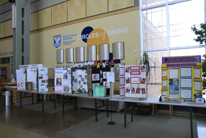 The science fair projects were set up in the main building of Great Falls College MSU.