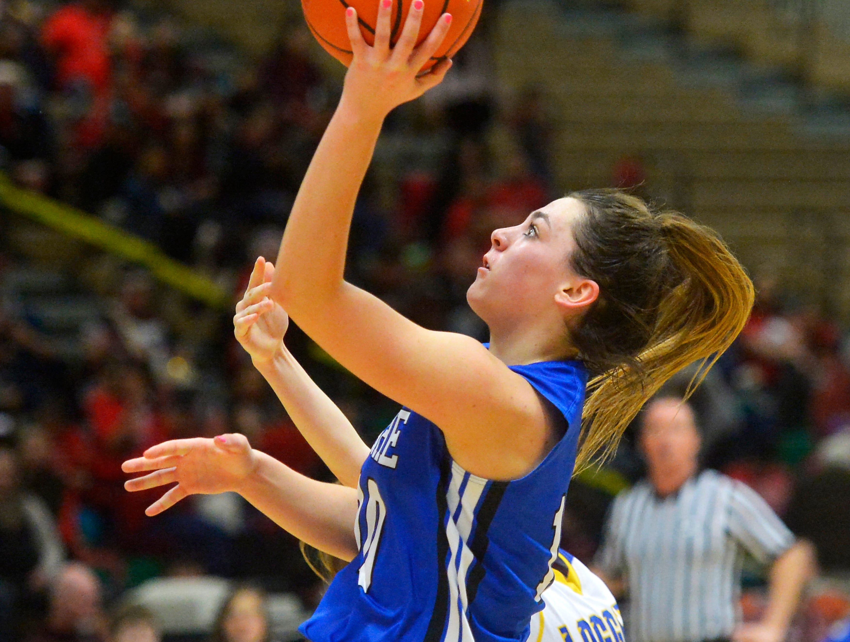 Havre's Kyndall Keller shoots a layup in Thursday's game against Libby at the Class A State Basketball Tournament in the Four Seasons Arena, Thursday.