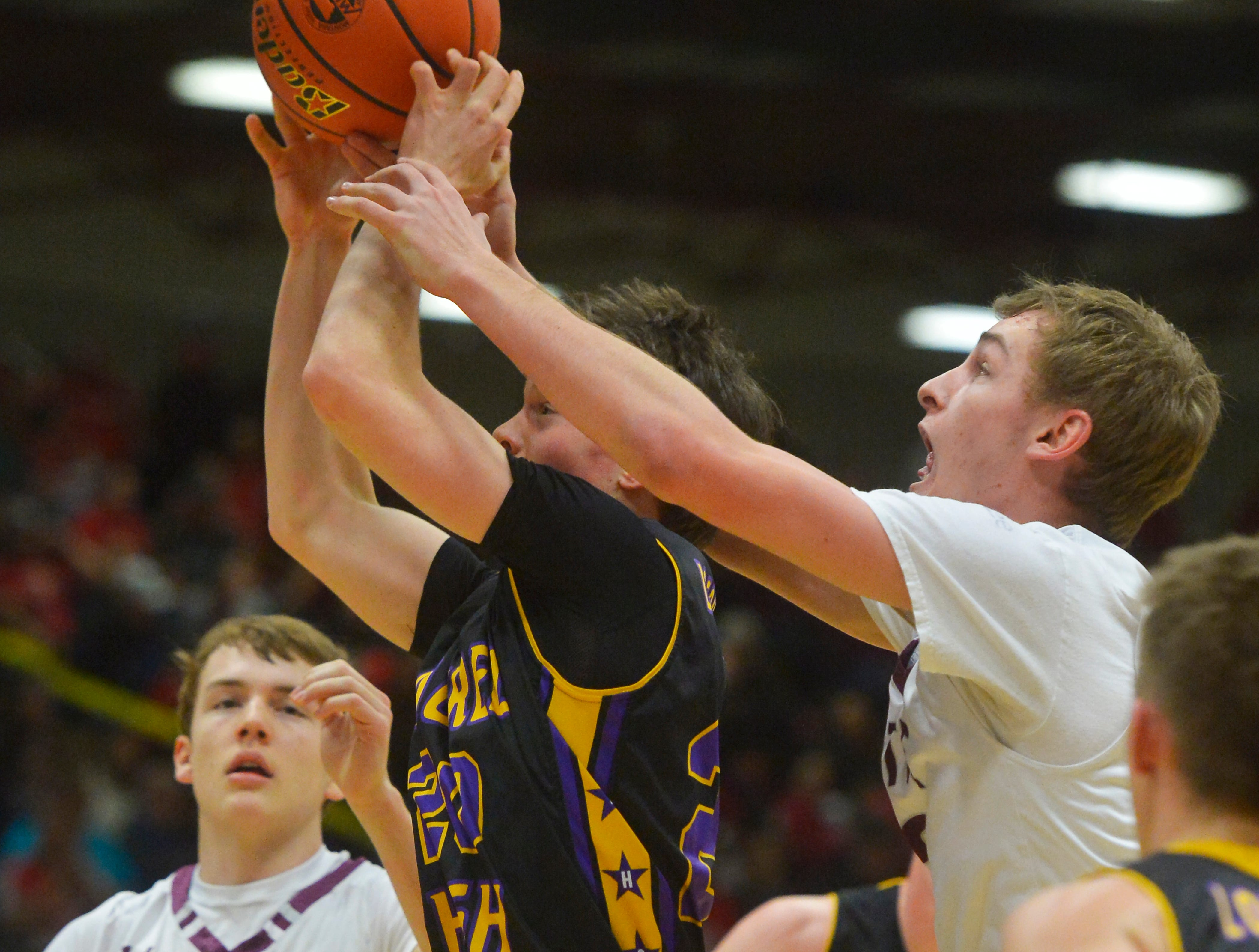 Butte Central and Laurel play during the Class A Boys State Basketball Tournament in the Four Seasons Arena, Thursday.