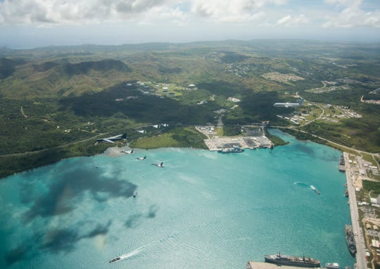 COPE North 2019 United States, Australian and Japanese aircraft demonstrate a large show of force during Cope North 2019 over Apra Harbor, Guam, on Mar. 6, 2019, at Andersen Air Force Base, Guam. CN19 is a long-standing exercise designed to enhance multilateral air operations amongst partner nations and will include humanitarian assistance and disaster relief airlift operations as well as large-force employment. Approximately 2,000 U.S. Airmen, Marines, and Sailors participated alongside approximately 800 RAAF and JASDF members during the exercise. (U.S. Air Force Photo by Capt. Adam Engelhart)