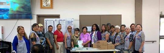 "The Guam Sunshine Lions Club donated four boxes of bingo cards to the Dededo Sr. Citizens Center on March 6 as part of its ongoing service to the ""Sick and the Elderly."" Pictured form left: L. LouJean Borja, L. Dee Cruz, Larry Richardson (former president), Joshua Quichocho (recreational leader), Josephine Kitchen (nutritionist), Marissa Serrano (treasurer), Alejandrina Cacho (vice-president), Lions Lorraine Rivera, Clarice Quichocho, Josephine Borja, Mary Taitano, Jovie Mejorada, Dot Leon Guerrero, Helen Mendiola, Jojo Pillsbury, and Marie Salas."