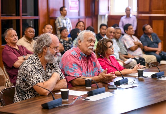 Ken Leon-Guerrero, center, Guam Citizens for Public Accountability spokesperson, expresses his opposition to Legislative Bill 29 as he testifies before lawmakers at the Guam Congress Building in Hagåtña on Friday, March 8, 2019. The measure authorizes the Mayors Council of Guam to justify and establish rules and regulations, related to games of chance being allowed at the Liberation Day Carnival, and any other fair or carnival, that the governor has issued a proclamation for.