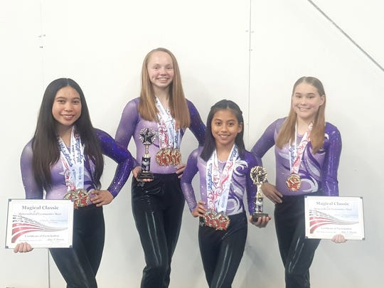 From left: Maria Calvo, Kate Hartley, Helena Nuqui and Lorin Lesh of Island Twisters represented Guam at the Magical Classic Gymnastics Competition Feb. 16-17 at the Orlando World Center in Florida.