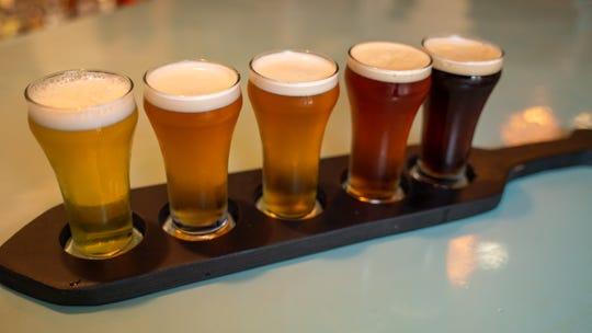 A sampling of craft beers available at  The Guam Brewery Tap House.