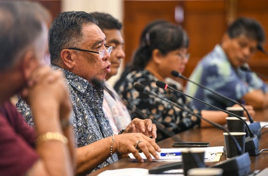 Angel Sablan, Mayors Council of Guam executive director, explains the difficulty village mayors and their staffs, have in finding the funds necessary to cover expenses for the annual carnival and events, related to the celebration of Liberation Day, as he testifies before lawmakers on Bill 29 at the Guam Congress Building in Hagåtña on Friday, March 8, 2019. The measure authorizes the Mayors Council of Guam to justify and establish rules and regulations, related to games of chance being allowed at the Liberation Day Carnival, and any other fair or carnival, that the governor has issued a proclamation for.