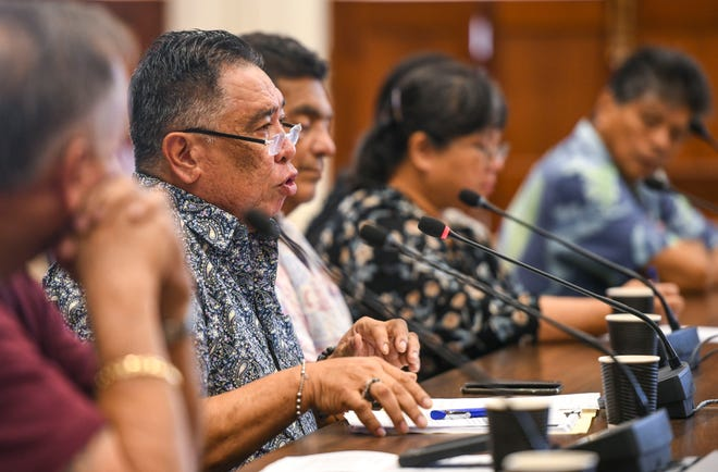Angel Sablan, Mayors Council of Guam executive director, testifies before lawmakers at the Guam Congress Building in Hagåtña in this March 8 file photo.