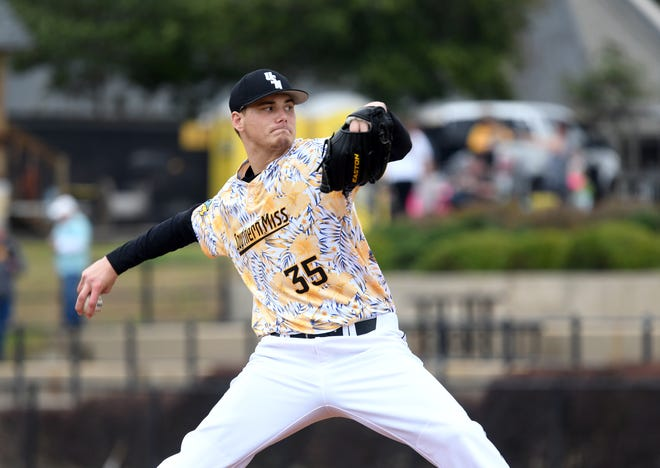 Southern Miss pitcher Walker Powell throws the ball in a game against Holy Cross at Pete Taylor Park on Friday, March 8, 2019.