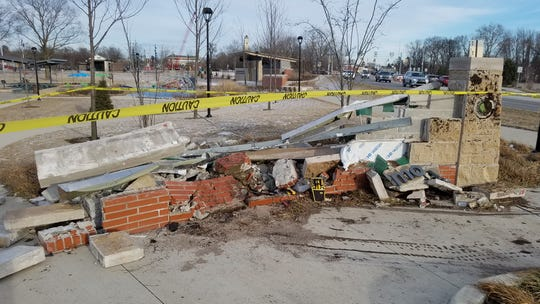 Entrance sign to Federal Hill Commons in Noblesville destroyed by suspected drunk driver