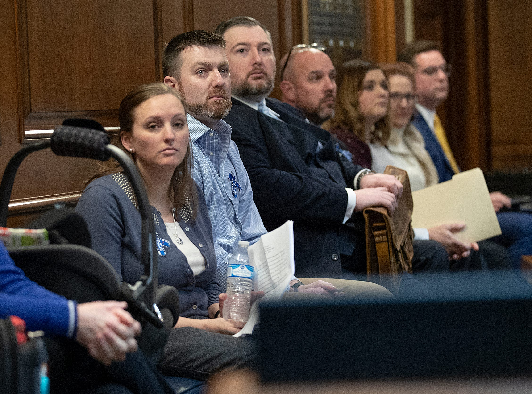 Parents Joel and Andrea Clausen at the Indiana State house to testify in front of law makers fight for a new law to add Krabbe disease to the list of disorders on the state's newborn screening panel. Their son Bryce was diagnosed with Krabbe disease after they notice many changes in their toddler.