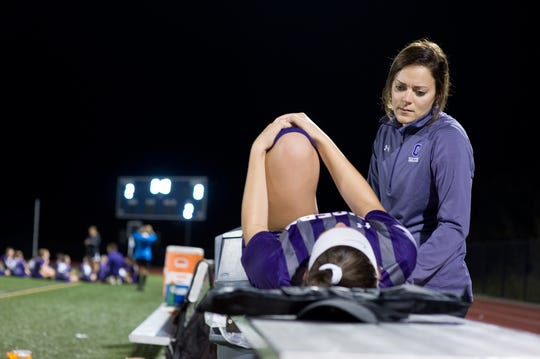 Certified athletic trainers specializing in athletic health care work closely with physicians and therapists to prevent injuries at practices and games at seven high schools, club sports, and collegiate teams
