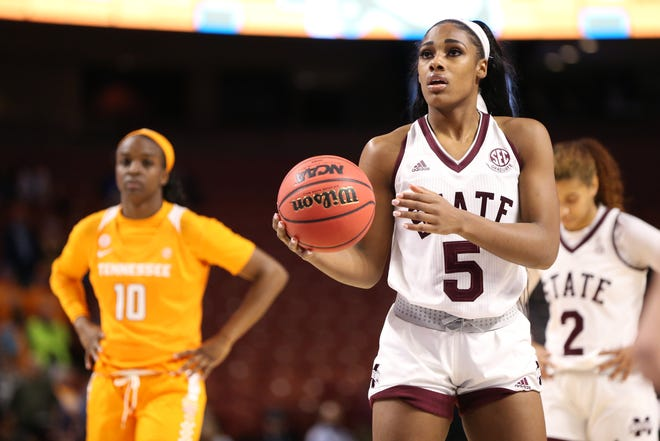 Mississippi State senior forward Anriel Howard paced the Bulldogs with 26 points in MSU's SEC Tournament win over Tennessee on Friday in Greenville, South Carolina.