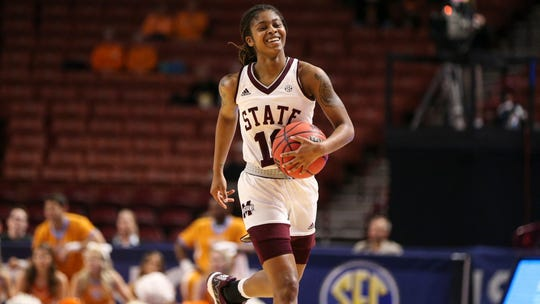 Mississippi State senior guard Jazzmun Holmes was as good as head coach Vic Schaefer has ever seen her in the Bulldogs' win over Tennessee on Friday. Holmes had 16 points and five steals.
