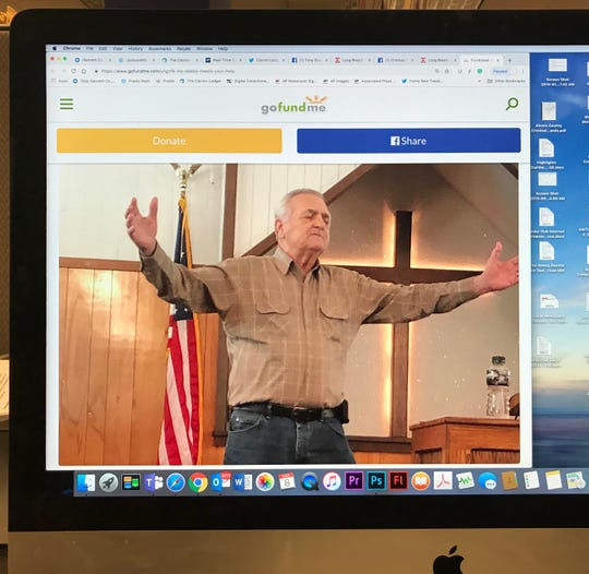 Pastor Tony Guerin is shown in this photo of a GoFundMe page displayed on a computer monitor.