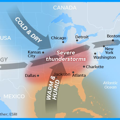 Storms, tornado threat heightened in South Saturday, forecasters say