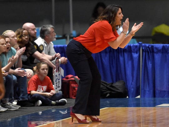 Pine Grove head coach Katie Bates, pictured here in 2019, has now led the Lady Panthers to four consecutive 1A girls basketball championships.