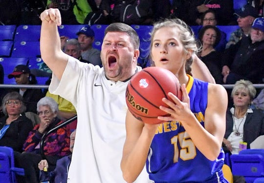 Marshall County's head coach David Steely yells at his players to come guard Westview's Alex Callins (15) as she spots up for a three pointer during their Class A semifinal game, Friday, March 8, 2019, in Murfreesboro.