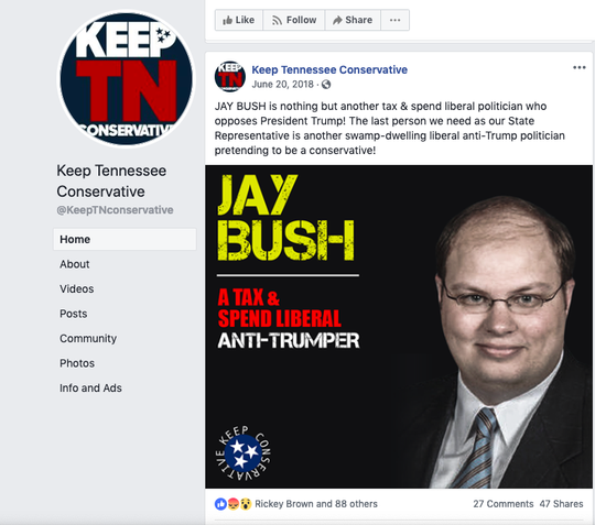 The Keep Tennessee Conservative Facebook page posts a photo of Jay Bush on June 20, 2018 during his Republican primary against Chris Todd.