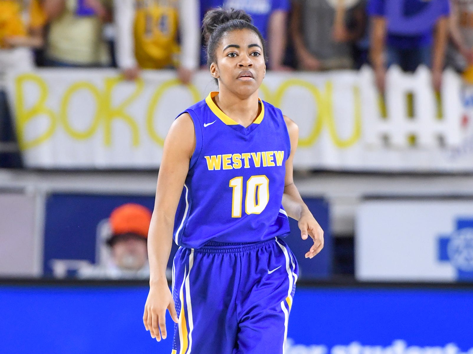 Westview's Zanasha Gadlen (10) scored 6 points in the first half during their Class A semifinal game against Marshall County, Friday, March 8, 2019, in Murfreesboro.