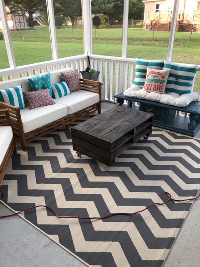 After painting the area a neutral color invest in quality all weather furniture as Reynolds has done at her house in Karns.