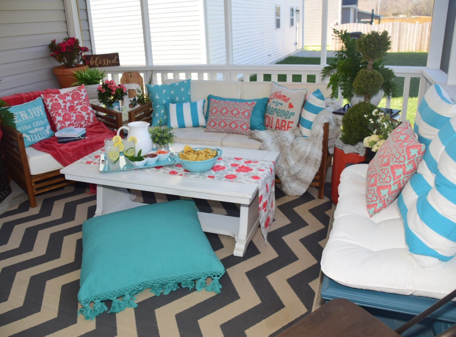Kelly Reynolds pulled the look together at her house in Karns with brightly colored pillows in various but matching colors.