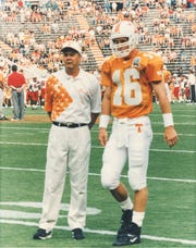 Tennessee quarterback Peyton Manning with UT offensive coordinator David Cutcliffe on Aug. 30, 1997. Both will be inducted into the Tennessee Sports Hall of Fame this year.