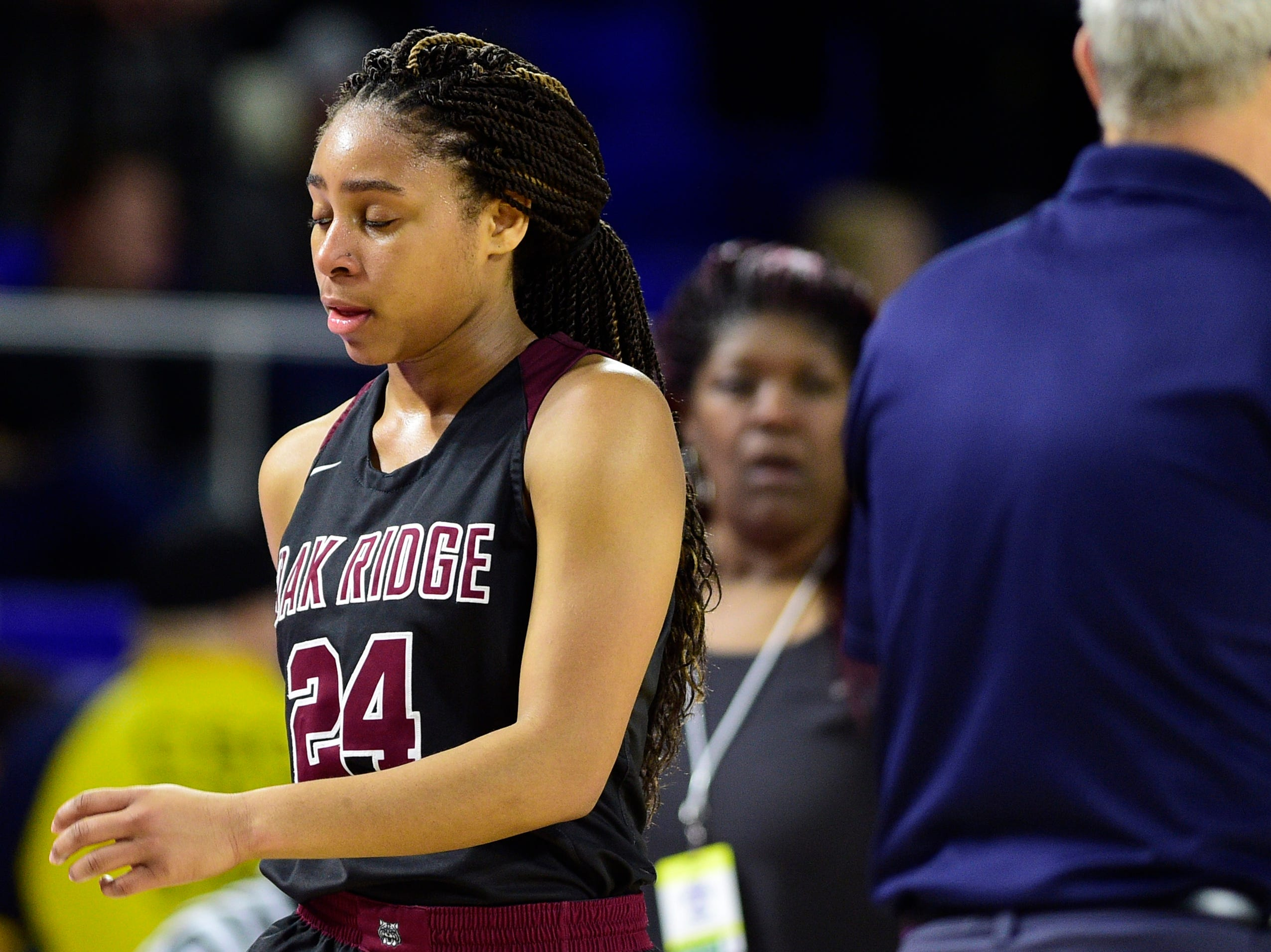 Oak Ridge's Jada Guinn (24) reacts after losing to Bradley Central 56-50 in overtime at the TSSAA girls state tournament at the Murphy Center in Murfreesboro, Tennessee on Friday, March 8, 2019.