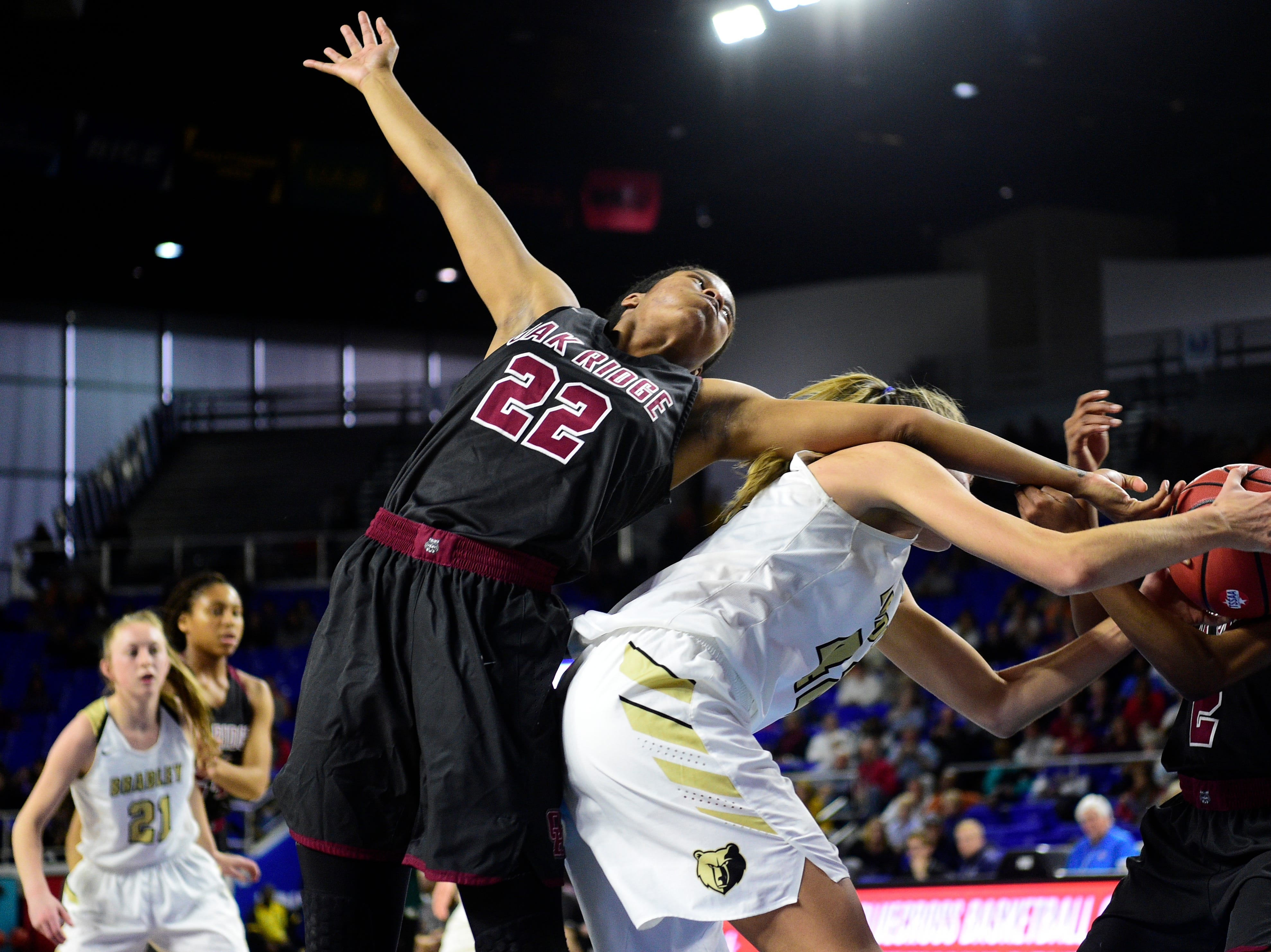Oak Ridge's Shatyrah Copeland (22) defends against Bradley Central's Anna Walker (42) during a game between Oak Ridge and Bradley Central at the TSSAA girls state tournament at the Murphy Center in Murfreesboro, Tennessee on Friday, March 8, 2019.