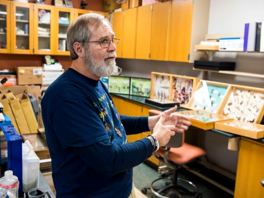 Jerome Grant, a professor in the department of entomology and plant pathology at UT, in an on-campus lab on Friday, March 8, 2019.