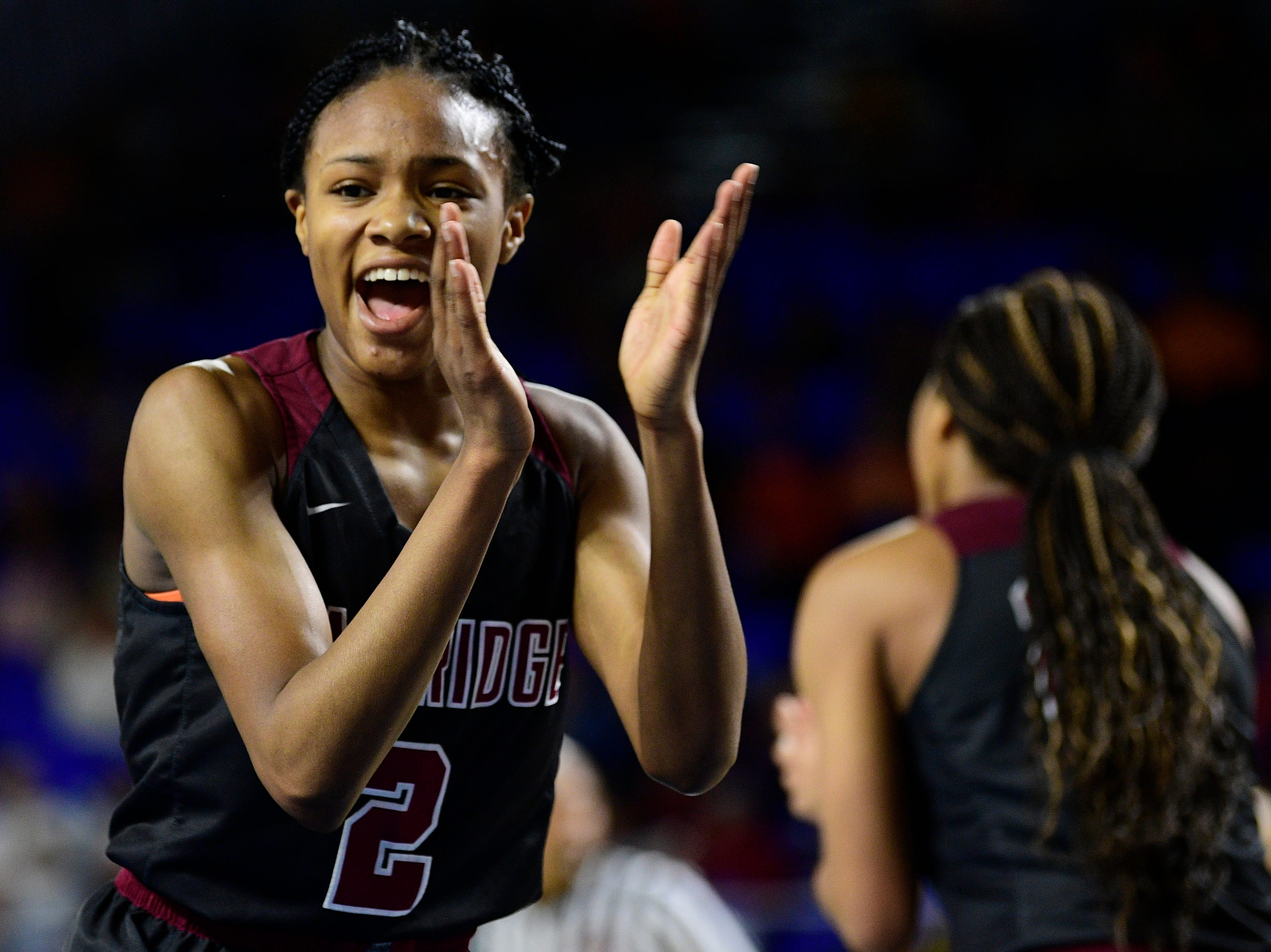 Oak Ridge's Khamari Mitchell-Steens (2) celebrates a point during a game between Oak Ridge and Bradley Central at the TSSAA girls state tournament at the Murphy Center in Murfreesboro, Tennessee on Friday, March 8, 2019.
