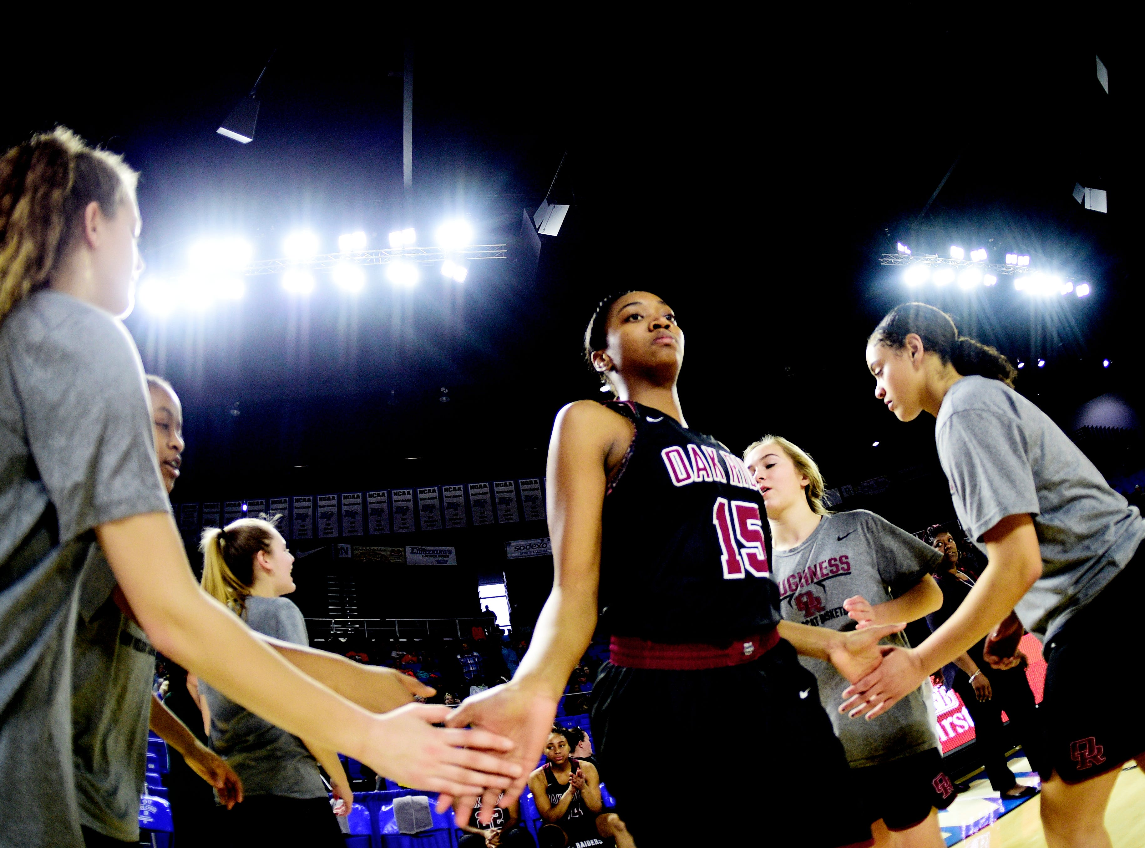 Oak Ridge's Raja Eckles (15) is introduced during a game between Oak Ridge and Bradley Central at the TSSAA girls state tournament at the Murphy Center in Murfreesboro, Tennessee on Friday, March 8, 2019.