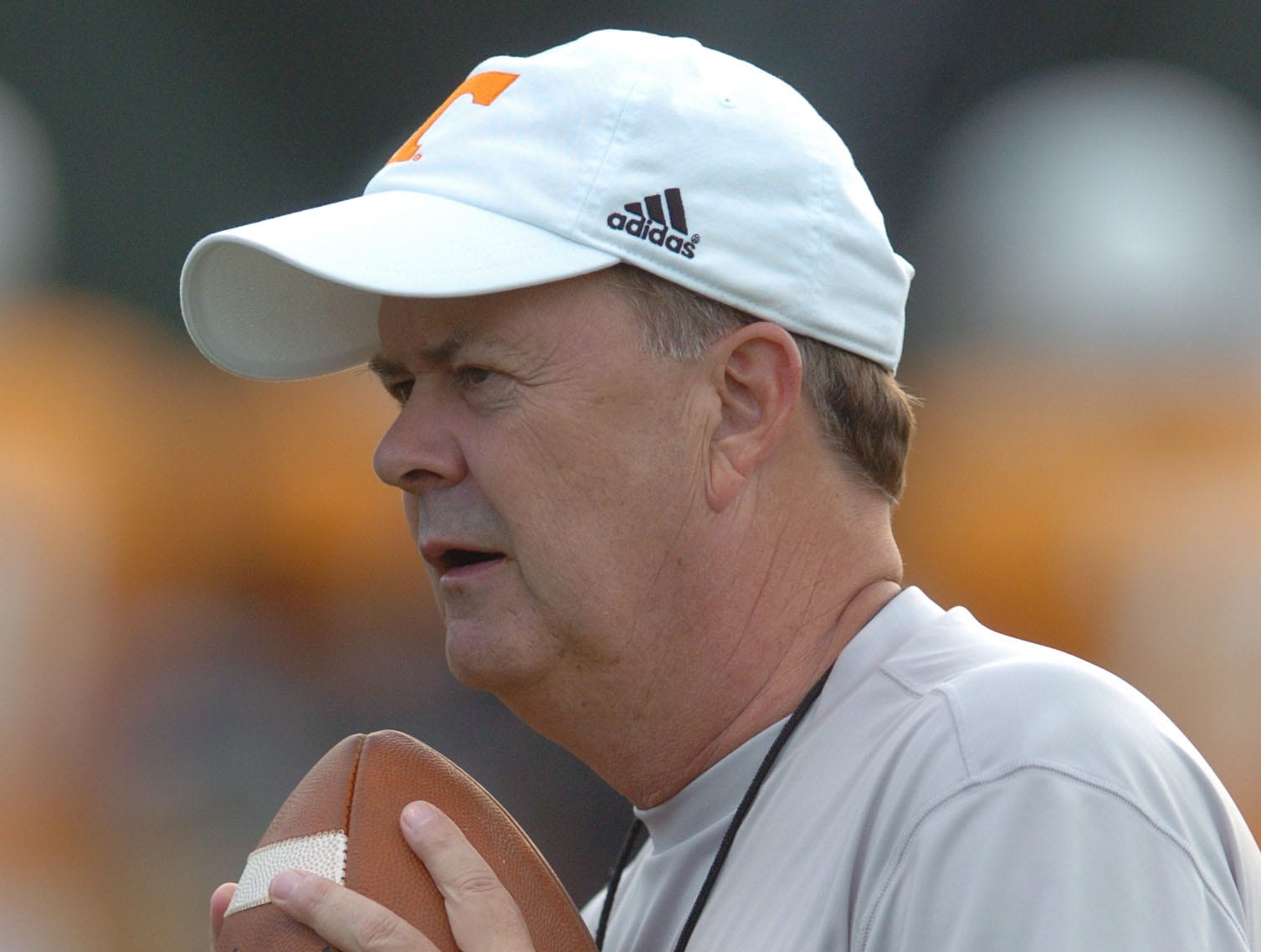 UT offensive coordinator David Cutcliffe coaches during practice at Lindsey Nelson Stadium. 08/08/2006.