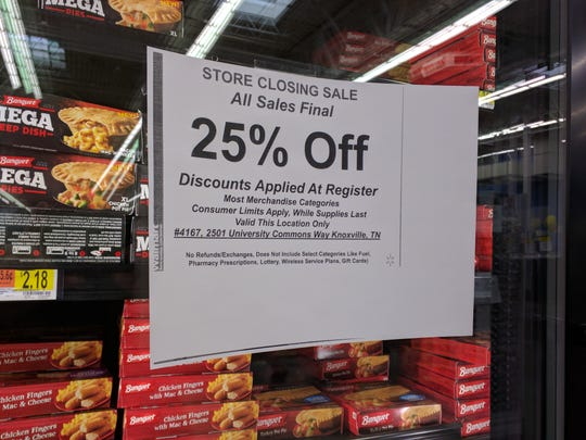 The Walmart at University Commons near the University of Tennessee is running a store closing sale of 25 percent off most merchandise.