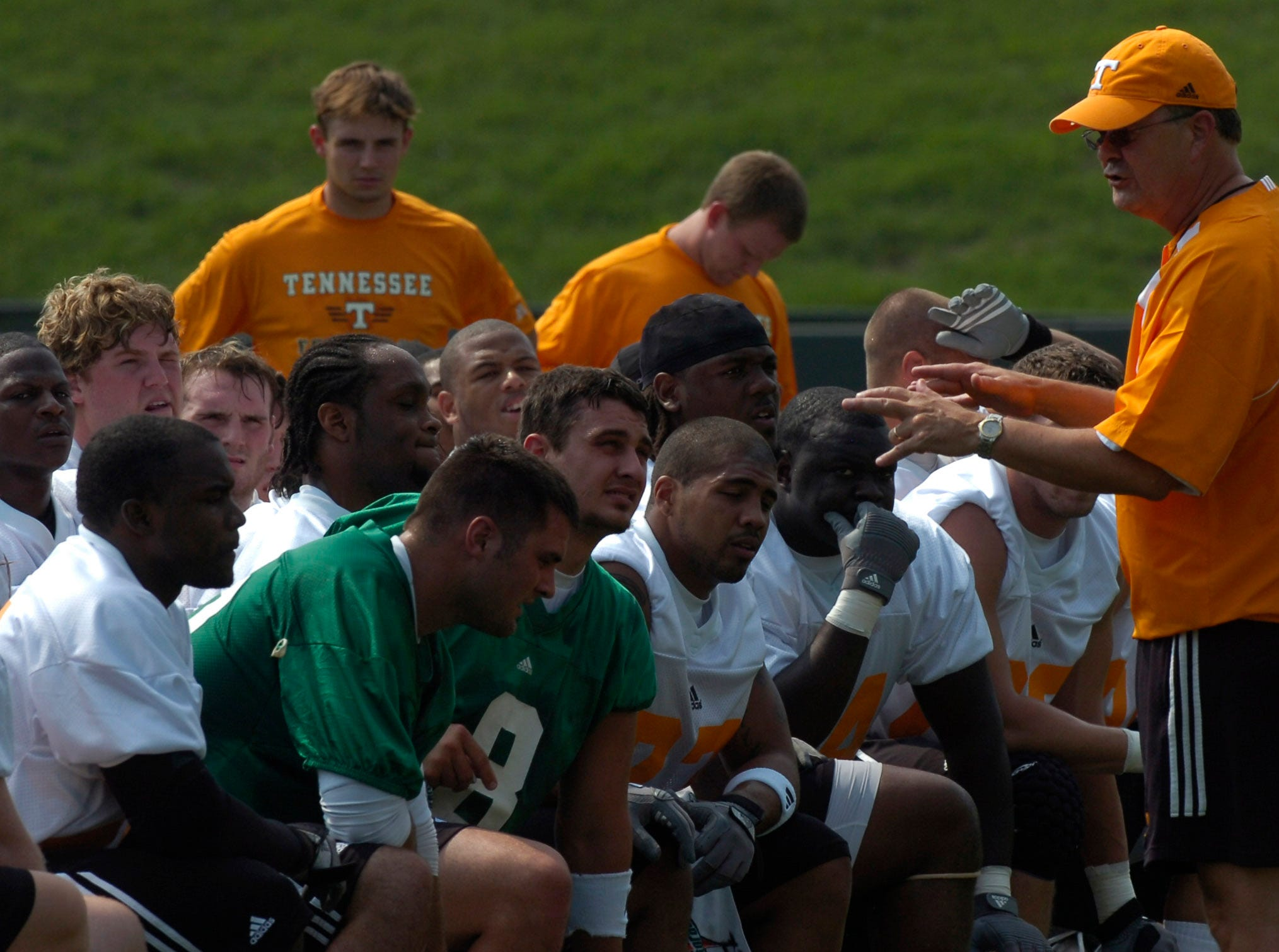 vols.ASB#8197.jpg--SPORTS-- UT coach David Cutcliffe talks to the offensive players during the first practice for the 2007 football team on Friday at Lindsey Nelson Stadium.Photo by Amy Smotherman-Burgess, Knoxville News Sentinel staff