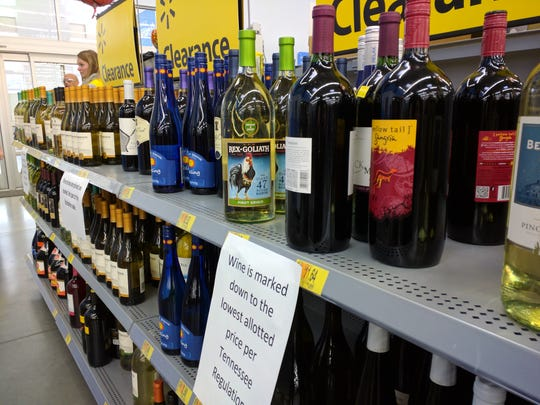 Wine and beer sales at the Walmart at University Commons near the University of Tennessee have been reduced as part of its closing sale but are exempt from the store's 25 percent merchandise discount.