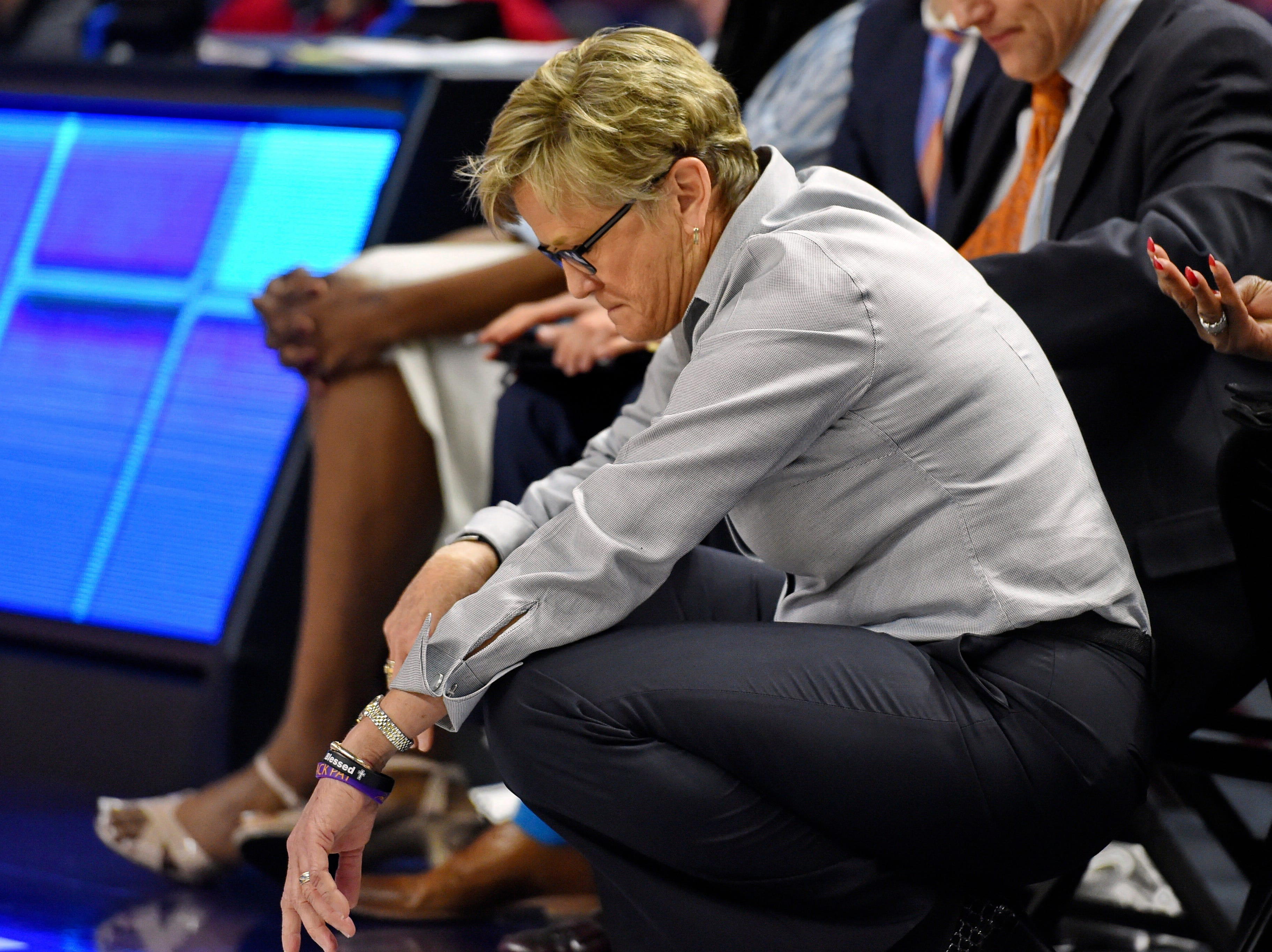 Tennessee head coach Holly Warlick reacts on the sideline during the closing minutes in the second half of an NCAA college basketball game against Mississippi State at the Southeastern Conference women's tournament, Friday, March 8, 2019, in Greenville, S.C. Mississippi State won 83-68.