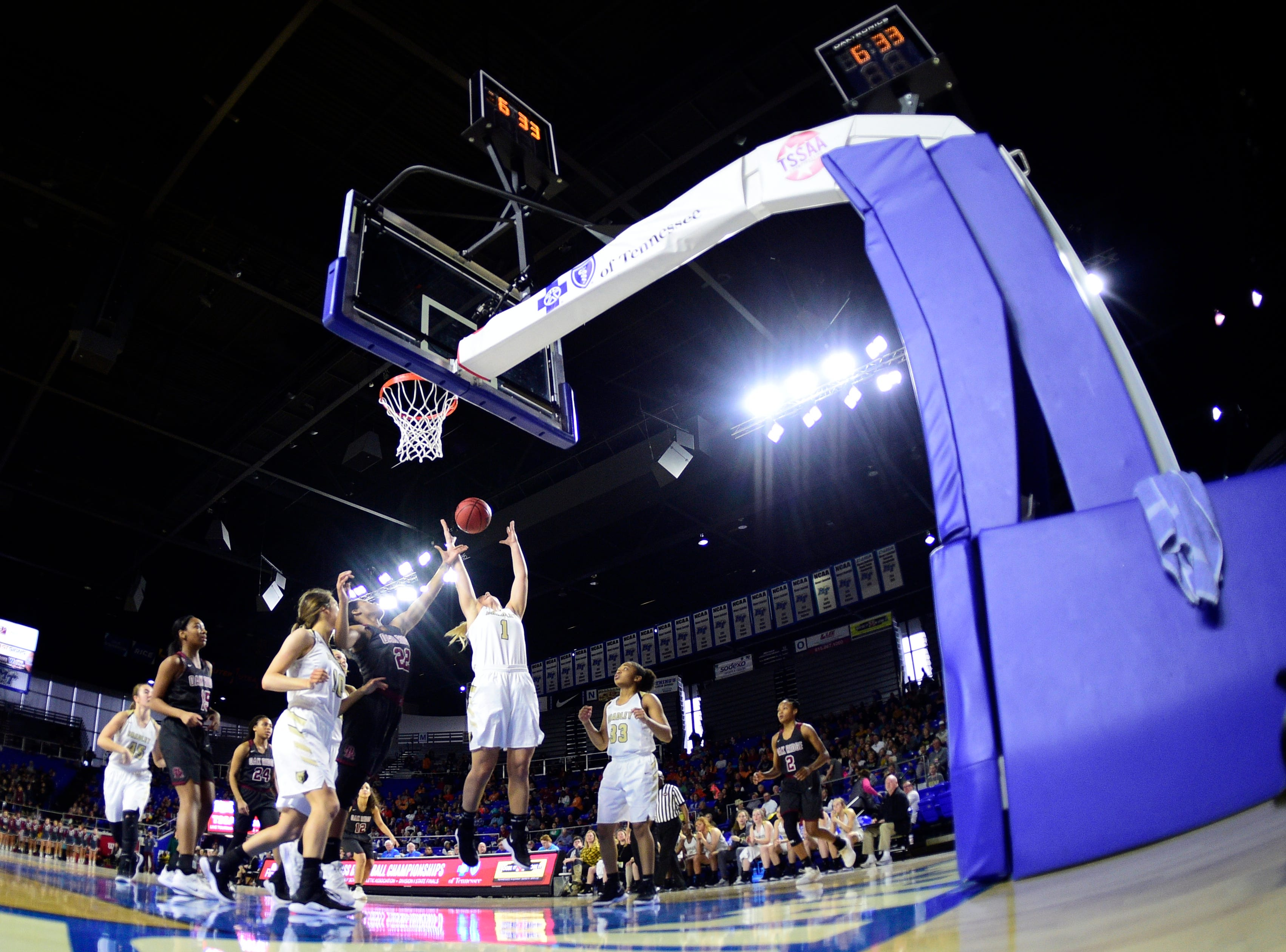 Bradley Central's Kaleigh Hughes (1) jumps for the rebound during a game between Oak Ridge and Bradley Central at the TSSAA girls state tournament at the Murphy Center in Murfreesboro, Tennessee on Friday, March 8, 2019.