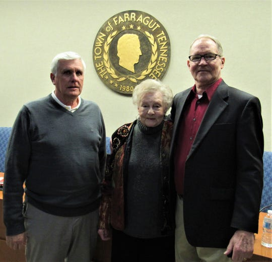 """Eric Johnson, one of the original members of Farragut Community Group in 1979, is with Dee Henning, longtime museum committee member, and local historian Frank Galbraith at the """"Magnificent Tennesseans"""" program on March 4."""