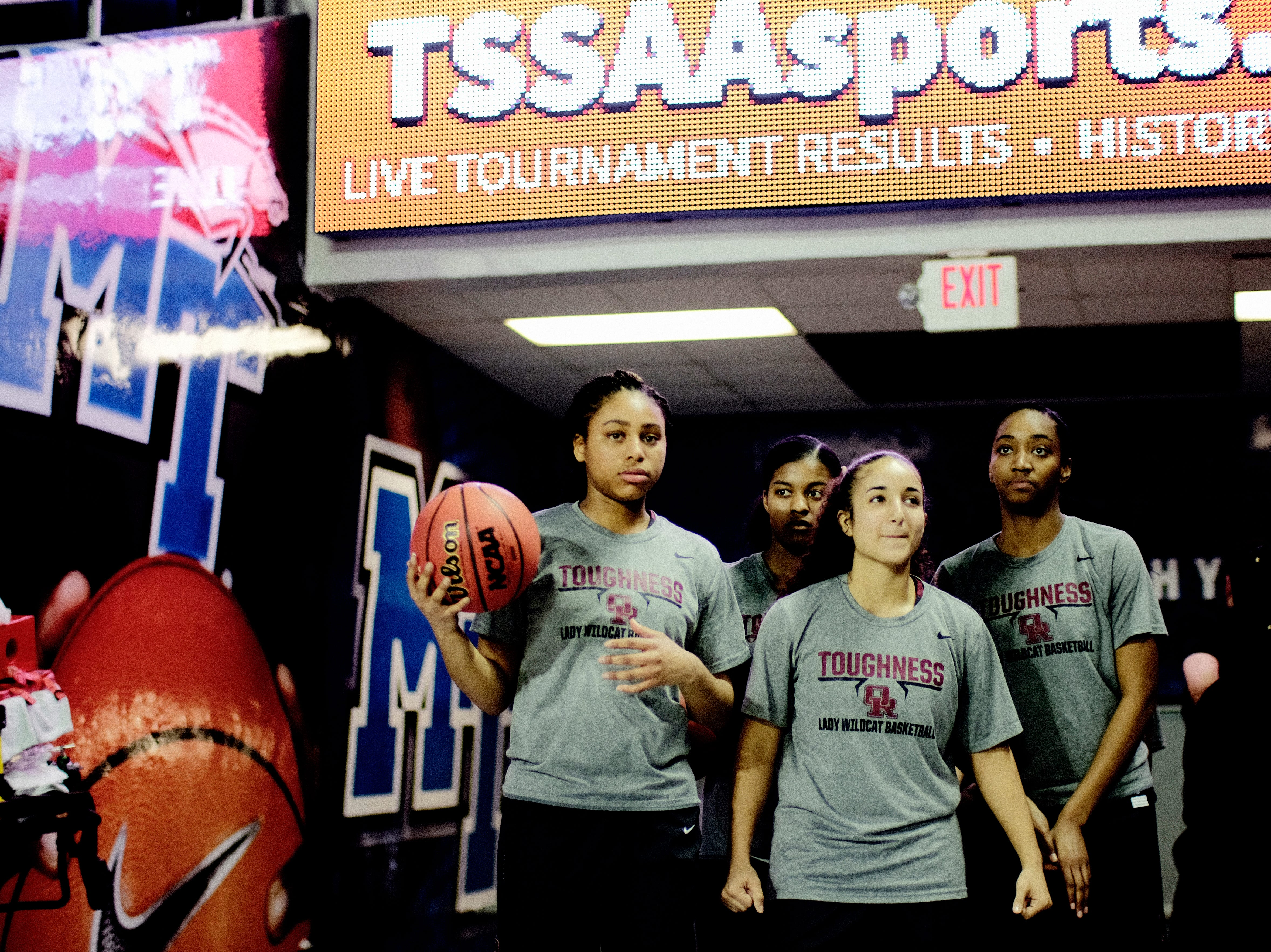 Oak Ridge prepares to take the court before a game against Bradley Central at the TSSAA girls state tournament at the Murphy Center in Murfreesboro, Tennessee on Friday, March 8, 2019.