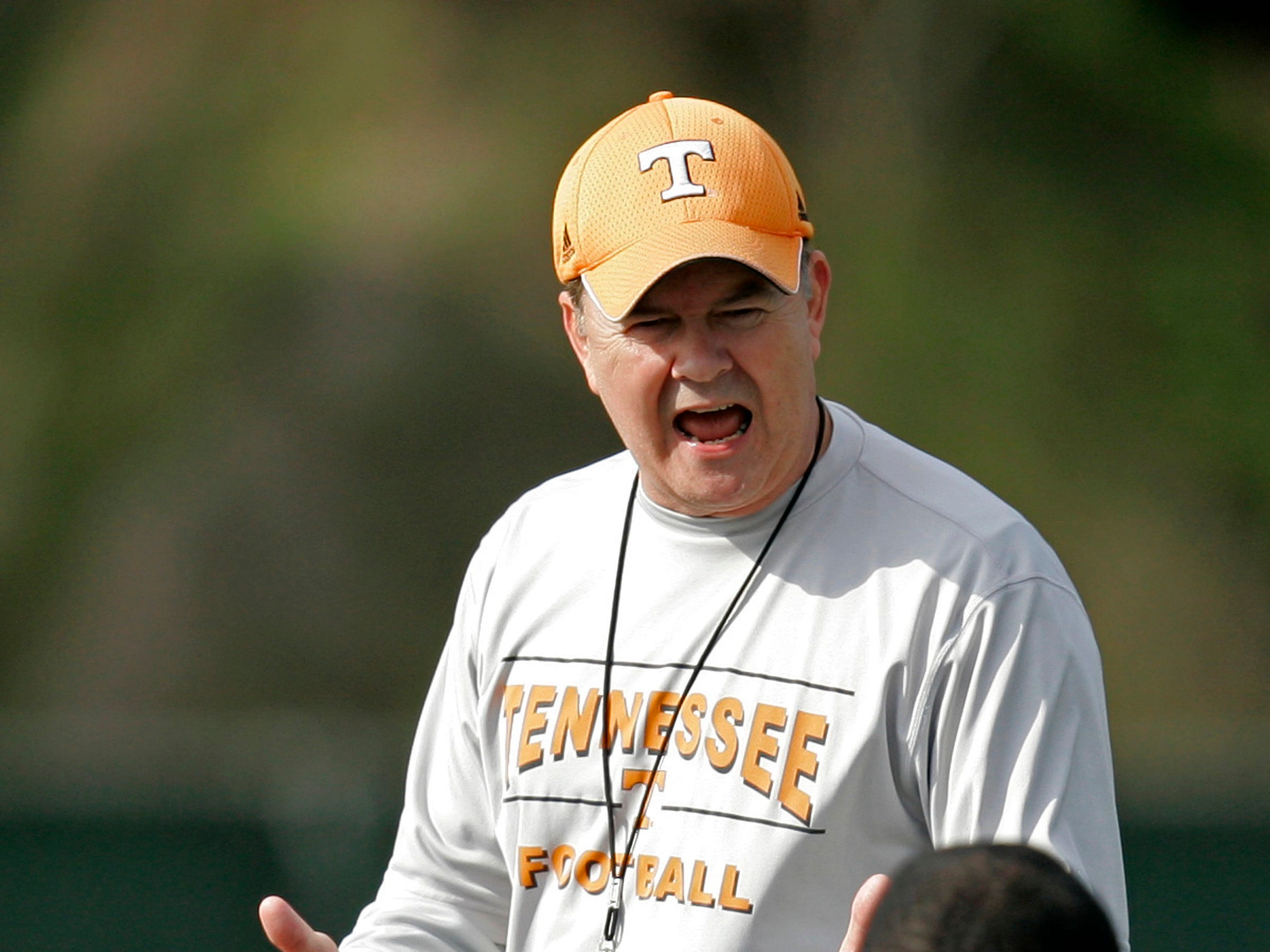 Tennessee offensive coordinator David Cutcliffe addresses his team prior to their college football practice Thursday, Dec. 28, 2006, in Tampa, Fla., as they prepare to play Penn State in the Outback Bowl on New Year's Day.