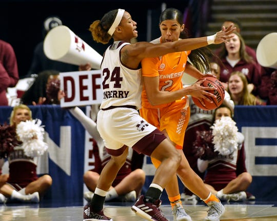 Tennessee's Evina Westbrook, right, tries to get past Mississippi State's Jordan Danberry during the first half of an NCAA college basketball game at the Southeastern Conference women's tournament, Friday, March 8, 2019, in Greenville, S.C.