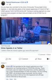 """Fox 43 responded to a screenshot of its broadcast showing the words """"God Hates Muslims"""" in the closed captioning during a cooking segment March 8, 2019."""