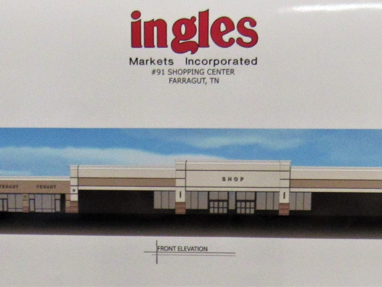An artist's rendering of the front of Ingles; this view faces Kingston Pike.