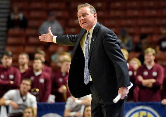 Mississippi State coach Vic Schaefer gestures during the first half of an NCAA college basketball game against Tennessee at the Southeastern Conference women's tournament, Friday, March 8, 2019, in Greenville, S.C.