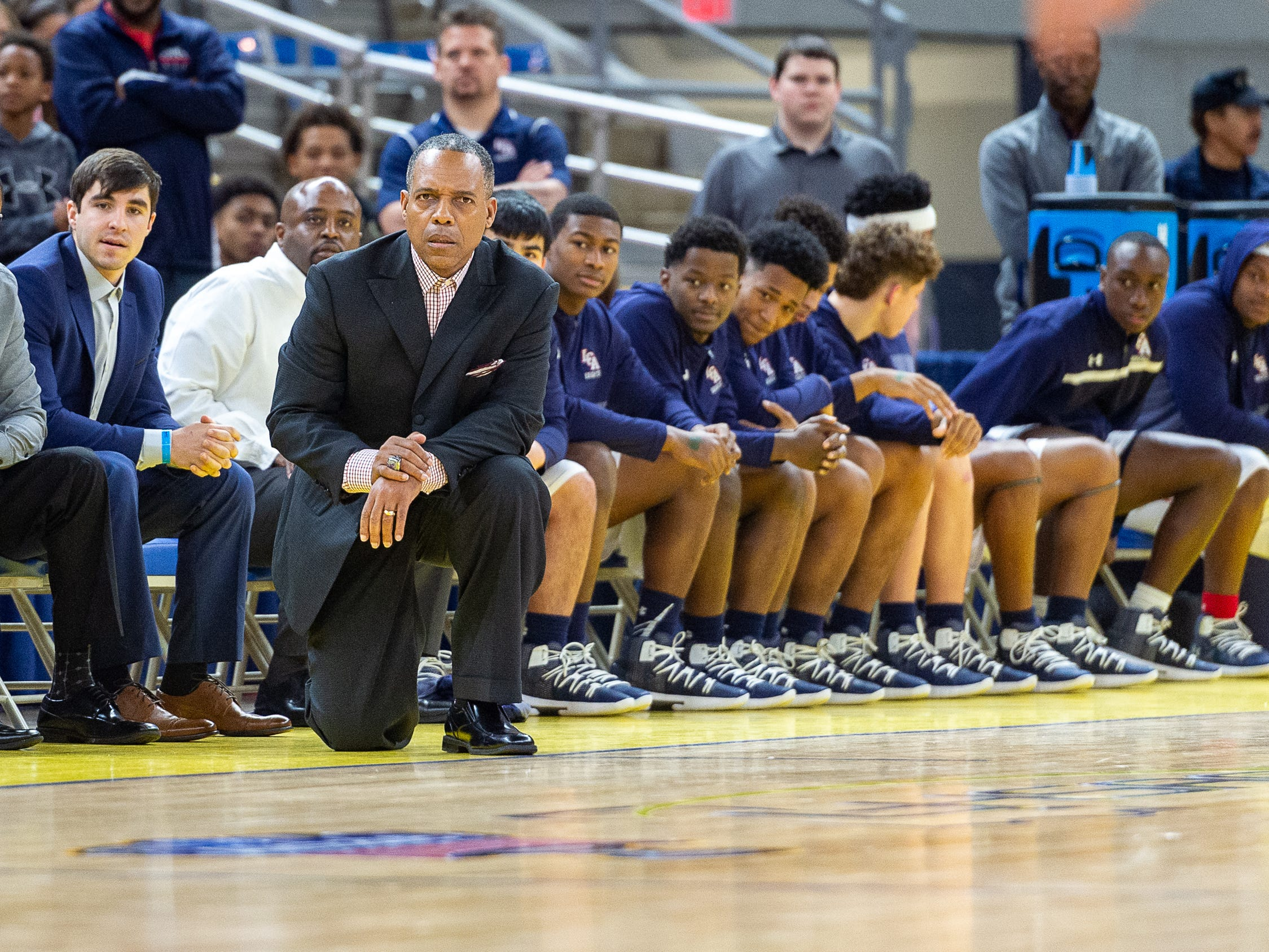 Head Coach Errol Rogers as Lafayette Christian takes down Hamilton Christian to win the Allstate Sugar Bowl/LHSAA Boys' Marsh Madness State Championship. Friday, March 8, 2019.