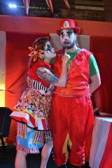 Mary and Zach Blood, aka Burps the Clown and Squeezit the Clown respectively, perform with the Oddly DraWn Circus.