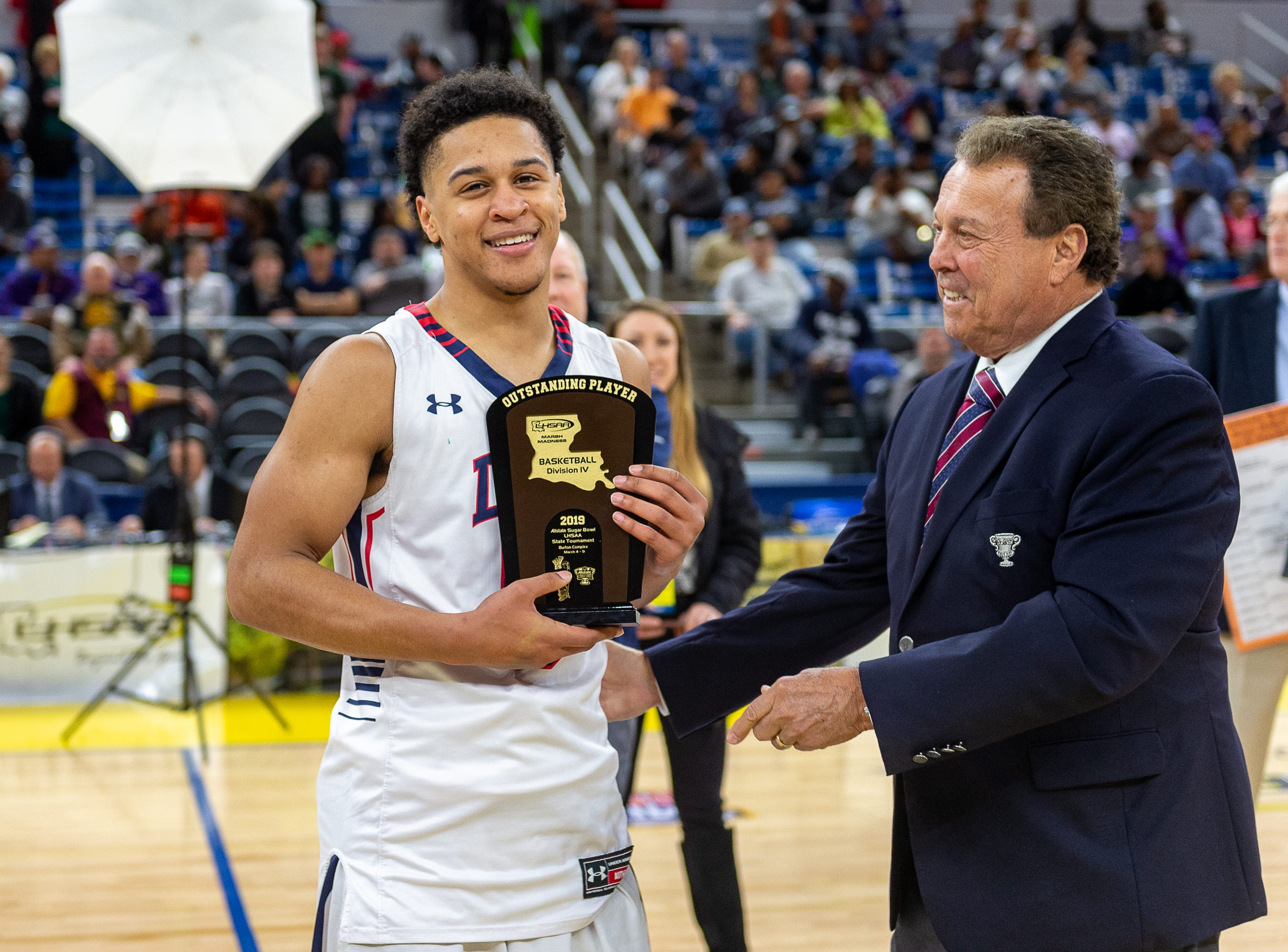 Billy Francis Jr. recognized as Outstanding Player of the game as Lafayette Christian takes down Hamilton Christian to win the Allstate Sugar Bowl/LHSAA Boys' Marsh Madness State Championship. Friday, March 8, 2019.